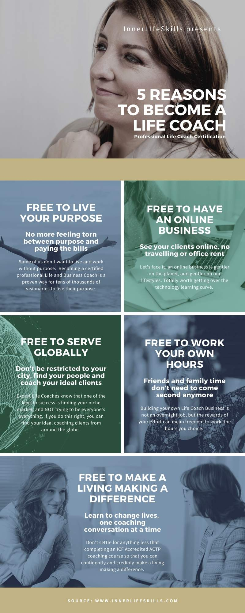 5 REASONS TO BECOME A LIFE COACH infographic